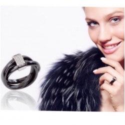 Bague 3 Anneaux En Céramique Noire T50 Oxyde De Zirconium Bijoux Femme