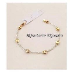 Bracelet Grain De Café Bicolore  Argent 925/000 et Plaqué or 18 carats Bijoux