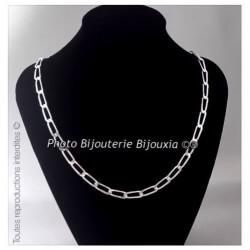 Chaîne Maille Cheval 55 CM x 7 MM Argent Massif 925/1000 Poinçonné Bijoux HOMME