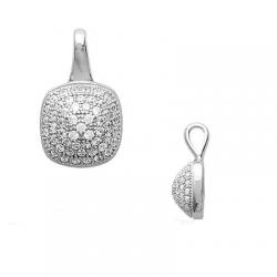 Collier Pendentif Pavé Microserti ZIRCONIUM Argent Massif 925/1000 Bijoux