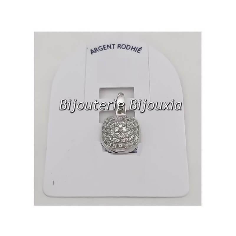 Pendentif Pavé Microserti ZIRCONIUM Argent Massif 925/1000 Bijoux Femme