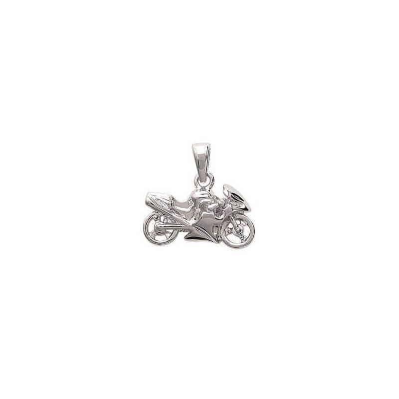 Pendentif Moto Argent Massif 925/1000 Bijoux Neuf Avec Étiquette