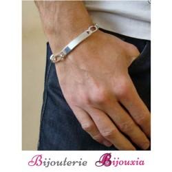 Bracelet Maille FIGARO Gravure Identité Argent Massif 925/000 Tailles au CHOIX