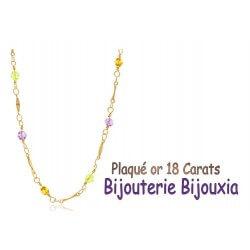 Collier Empierré Topazes Plaqué Or 18 carats Garanti  NEUF  Bijoux Femme