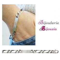 Bracelet FIGARO Gravures Identité Argent Massif 925/000 VIEILLI Tailles CHOIX