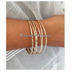 Bracelet Jonc Large Fils Croisés Plaqué Or 18 carats Garanti  NEUF  Bijoux Femme