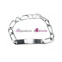Bracelet Figaro Identité Gravure Argent Massif 925/000 Sélection Femme