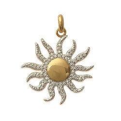 Pendentif Soleil Zirconium Plaqué Or 18 carats 3 Microns Bijoux Femme