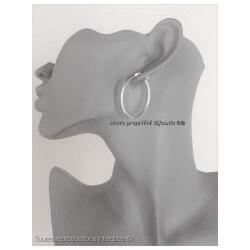 Boucles D'oreilles Créoles Ovales  En Argent Massif 925/1000 Bijoux Femme