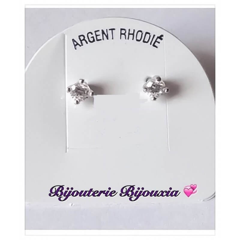 Boucle D'oreilles Puces Zirconium En Argent Massif 925/000 Rhodié Bijoux Femme