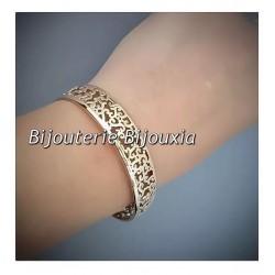 Bracelet Jonc OUVERT Ajouré - Plaqué Or 18 Carats - Garanti 10 ans- Bijoux Femme