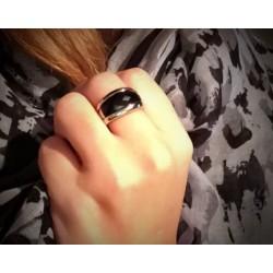 Bague Céramique Noire Et Acier Inoxydable- T54 - Bijoux Femme