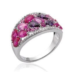 Bague Cristal Rose Oxyde De Zirconium Argent Massif 925/000 Bijoux femme CHOIX