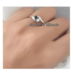 Bague Toi Et Moi Taille 58 Oxyde Zirconium Argent Massif 925/1000 Rhodié BIJOUX