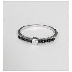 Bague Cubics De Zirconium noirs- Argent Massif 925/000 Bijoux T50-52-54-56-58-60