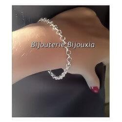 Bracelet Maille Jaseron En Argent Massif 925/000 Rhodié Bjoux Femme