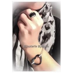 Bracelet Cœur Acier Et Céramique Noire  Bijoux Femme