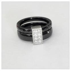 Bague Céramique Noir T60  Double Anneaux  Zirconium Argent Massif Bijoux
