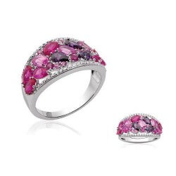 Bague Cristal Rose Zirconium Taille 56 DISPO Argent 925/000 Rhodié Bijoux femme
