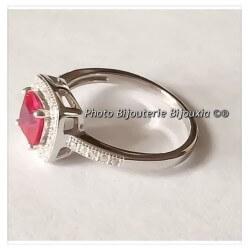 Bague Rubis Zirconium- Argent Massif 925 Rhodié  Bijoux T50-52-54-56-58-60