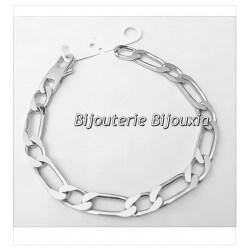 Bracelet Large Figaro 21cm x 7MM Argent Massif 925/1000 Poinçonné Bijoux Homme