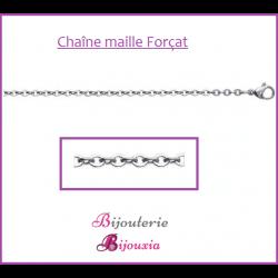 Chaîne Maille Forçat 55 CM Robuste En Acier Inoxydable 316L Bijoux Homme/Femme