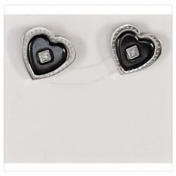 Boucles D'oreilles Céramique Cœur de Cristal Oxyde de Zirconium - Bijoux femme