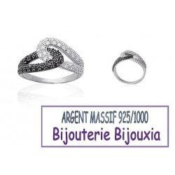 Bague Empierrée ZIRCONIUM Noir&Blanc Argent Massif 925/1000 Bijoux Tailles CHOIX