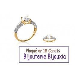 Bague Alliance Solitaire ZIRCONIUM Plaqué or 18 Carats 5 Microns Bijoux CHOIX