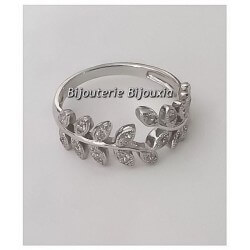 Bague Feuille De Laurier Zirconium Argent 925/1000 Rhodié T56 Bijoux Femme