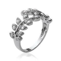 Bague Feuille De Diamants Zirconium Argent 925/1000 Rhodié T50-52-54-56-58-60
