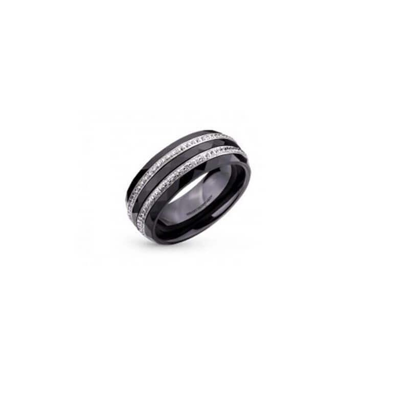 Bague Alliance Céramique ZIRCONIUM- T54- Argent Massif  925/1000- Bijoux