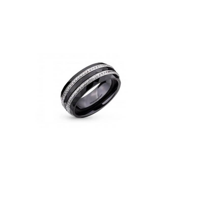 Bague Alliance Céramique ZIRCONIUM- T56- Argent Massif  925/1000- Bijoux