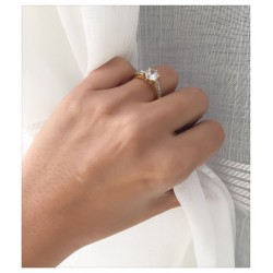 Bague Cz Solitaire Plaqué Or 18 carats Garanti 10 Ans 5 Microns T60 Bijoux femme