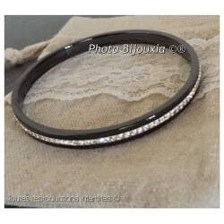 Bracelet Jonc En Pure Céramique couleur Noir Rang cristal Zirconium Bijoux Femme