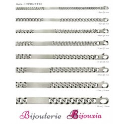 Bracelet Gourmette Gravure Identité Argent Massif 925/000 VIEILLI Tailles CHOIX