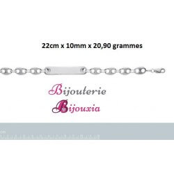 Bracelet Grain de Café Gravure Identité Argent Massif 925/000 Tailles au CHOIX