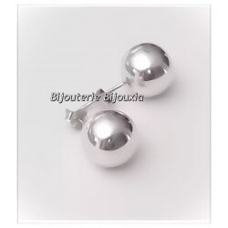 Boucles D'oreilles Grosses Boules 10MM Argent Massif 925/1000 Bijoux Femme