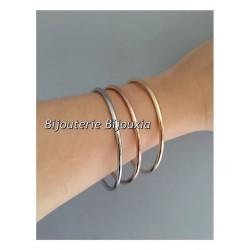 Bracelets Lot 3 joncs Acier & Plaqué Or  6,2cm  Bijoux Femme
