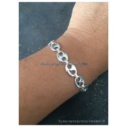 Bracelet Grain De Café 19 CM X 8 MM Argent Massif 925/000 Bijoux Femme