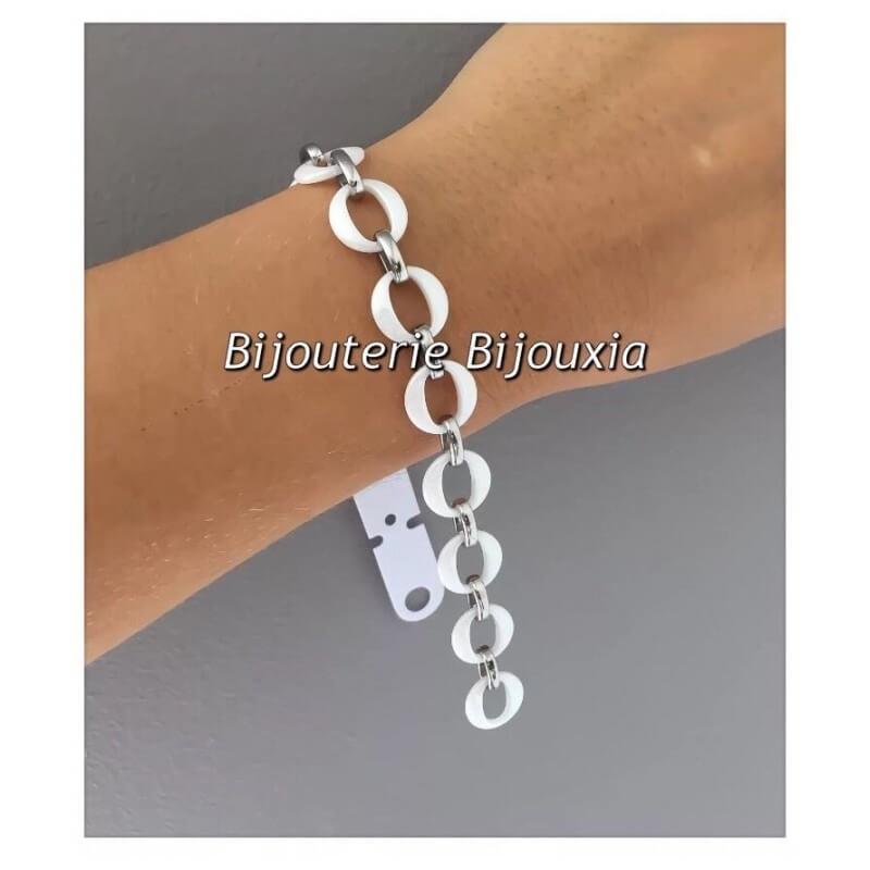 Bracelet en pure Céramique Blanche et Acier inoxydable  Bijoux Femme