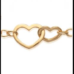 Bracelet gourmette double cœur Plaqué or 18 CARATS  750 Millièmes Bijoux Femme