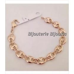 Bracelet Maille Grain De Café Large 19 CM Plaqué or 18 Carats Bijoux Femme