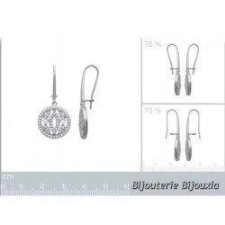 Boucles D'oreilles Anneaux CRISTAL Zirconium- Argent 925-Rhodié-Bijoux Femme