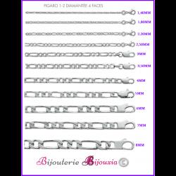 Chaînes Et Bracelets maille FIGARO ou CHEVAL  Argent Massif 925 Millièmes CHOIX