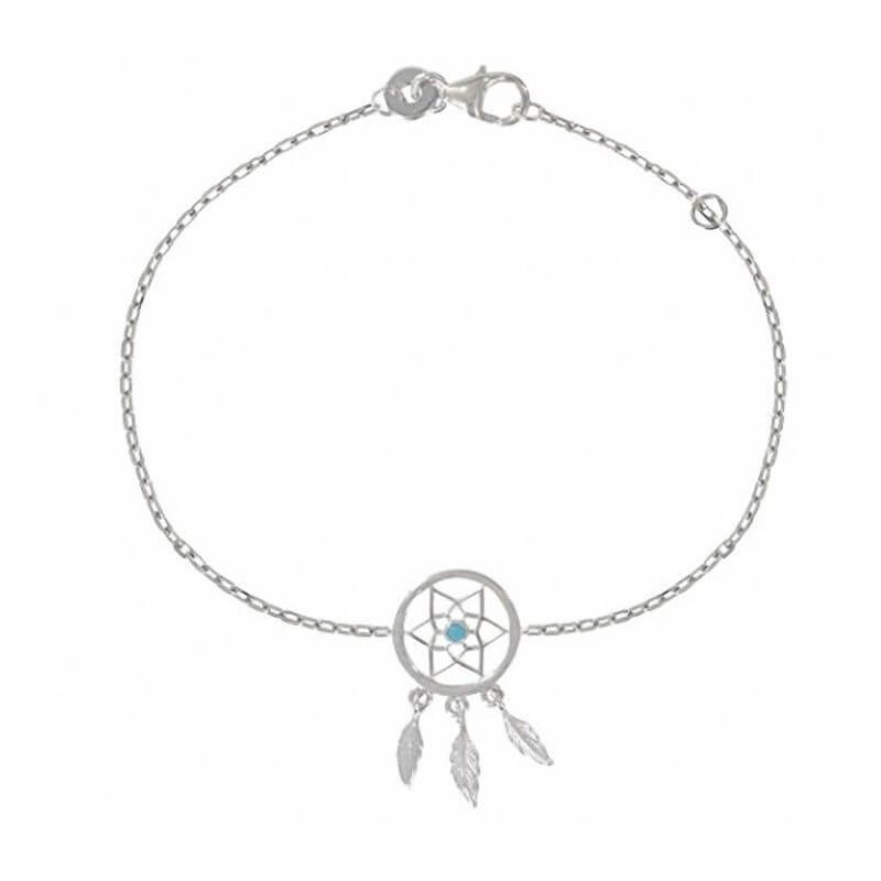 Bracelet  Attrape Rêve Pierre  Turquoise Argent Massif 925/000  Bijoux Femme