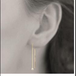 Boucles d'oreilles Originales Pendantes Oxyde de Zirconium Plaqué or 18 Carats