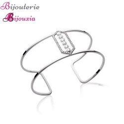 Bracelet Jonc Manchette Large ZIRCONIUM Argent Massif 925  Rhodié  Bijoux Femme