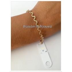 Bracelet Maille souple ondulée - Plaqué Or 18carats-Garanti 10 Ans- Bijoux Femme