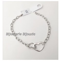 Bracelet gourmette double coeur  Argent Massif 925/1000  Bijoux Femme NEUF